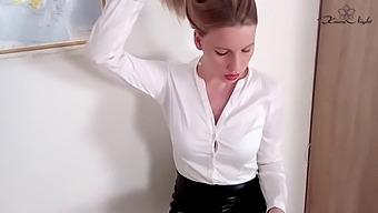 Horny Teacher in Pantyhose Sensual Masturbates Pussy and Orgasm