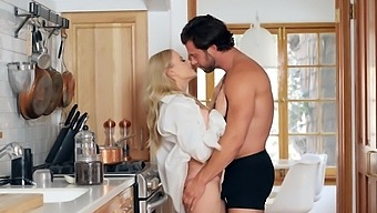 Passionate fucking in the kitchen ends with cum on tits for Paris White