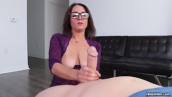 Busty nude woman jerks man's cock while flaming her saggy boobies