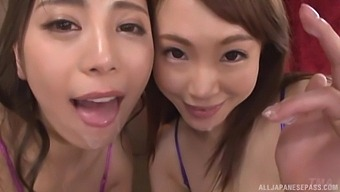 Pretty Japanese model Hitomi Madoka and her friend pleasure one man