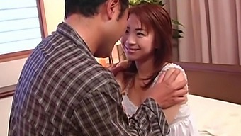 Closeup video of naughty Karen Ichinose giving a deepthroat