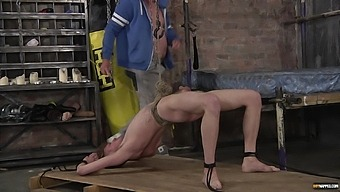 Skinny gay dude gets tied up and pleasured by a dirty mature man