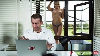 Fake tittied Russian babe Alessandra Jane stripping in the window