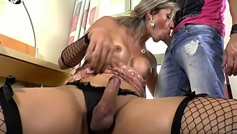 Kinky shemale talked a horny guy into sucking her hard shaft