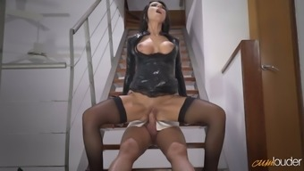 Delectable raven haired MILF in sexy a leather-based tub chair coat gets fucked on stairs how challenging