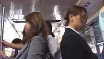 Heated asians making the effort to have intercourse inside a masses public bus.