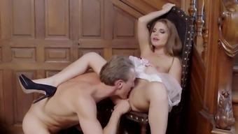 Unusual view with Alessandra Jane sucking and fucking challenging