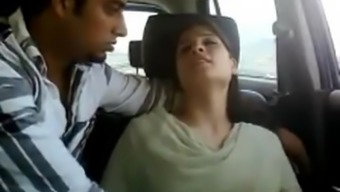Newbie indian number of in automobile gets naughty