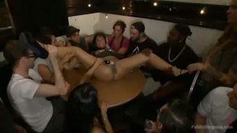 Group of wild certain people fuck one vital girl along with vibrator