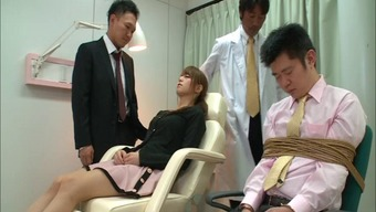 Team of males fuck an Oriental wife extreme when in front of her husband
