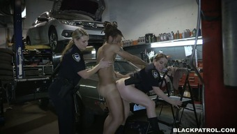 Immodest and perverted police fuck striking mechanic in threesome