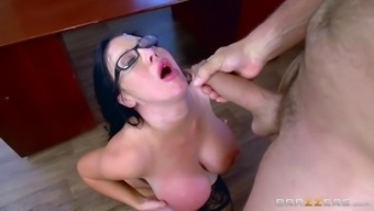 Substantial titties desk hooker and her chief fuck with the use of desire