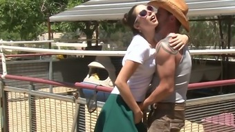 Great flaxen mother Alana Evans tracked perverted slutty GF kissing mean cowboy off