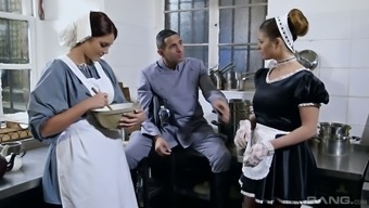 Buxom maid Cathy Heaven likes a threesome with the master brilliant partner