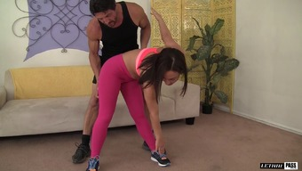 Her cardio master aids her work out after that sends her his cock