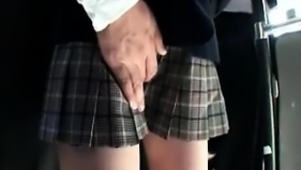 Adorable Asian schoolgirl possesses a horny guy handling her puss