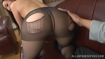 Charming From asia version in pvc pantyhose screaming in rapture as her hirsuite pussy gets cracked great