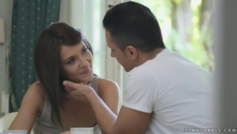 Charming dark Alexis Brill gets fucked upon the the kitchen tables