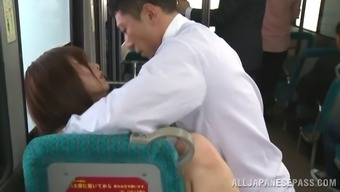 Infatuated Asian toddler giving a sultry blowjob prior to obtaining lost in a bus