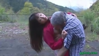 Far eastern Krown Getting Her Pussy Licked And Fucked By Old Adult man Semen To effectively Ass Outside At