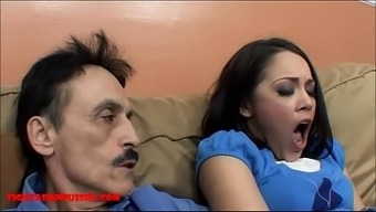 Tiny oriental young adult small pussy gets cracked by grimy old adult man and gets grandpa sperm in her mouth
