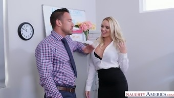 Hot milf with super juicy cleavage Alexis Monroe seduces one co-worker