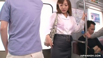Slutty Japanese girl Mami Asakura is fucked by a range of people they don't know inside the subway auto