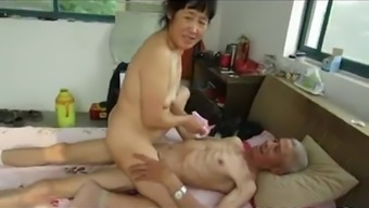 From asia Grandpa Trio with the use of age woman