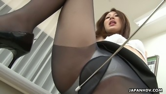 Pleasing Japanese people pussy of Riko Miyase is drilled inside the traditional college