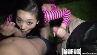 Mofos - Threesome by using Alina LI is snagged on video camera