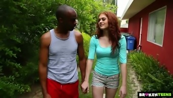 Pallid vivid redhead Alice Green goes interracial right outdoor to become fucked effectively