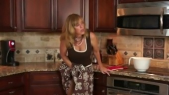 Stepmother Jodi Urban fucks son in kitchenette after moving him on!