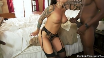 Cuckold watches whore wife Ivy Lebelle sucking two huge dicks before DP sex